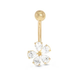 Gioelli 10k Yellow Gold Cubic Zirconia Flower Belly Ring