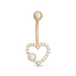 Gioelli 10k Yellow Gold Freshwater Pearl Cubic Zirconia Heart Belly Ring