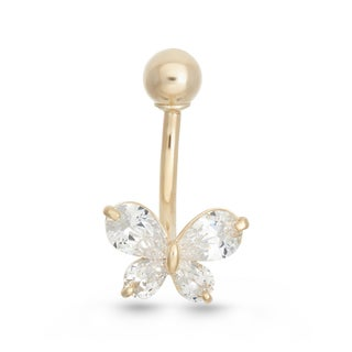 Gioelli 10k Gold Cubic Zirconia Butterfly Belly Ring