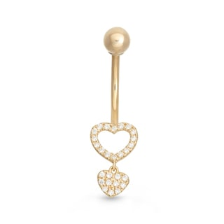 Gioelli 10k Yellow Gold Dangle Cubic Zirconia Hearts Belly Ring