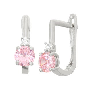 Junior Jewels Children's Sterling Silver Pink Hoop Earrings