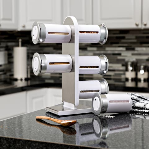 Honey Can Do Zero Gravity Countertop Magnetic Spice Stand, White/ Silver