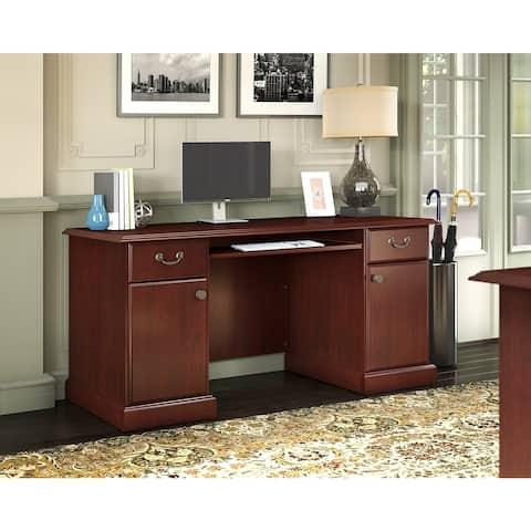 Bennington Credenza Desk in Harvest Cherry from kathy ireland Home by Bush Furniture