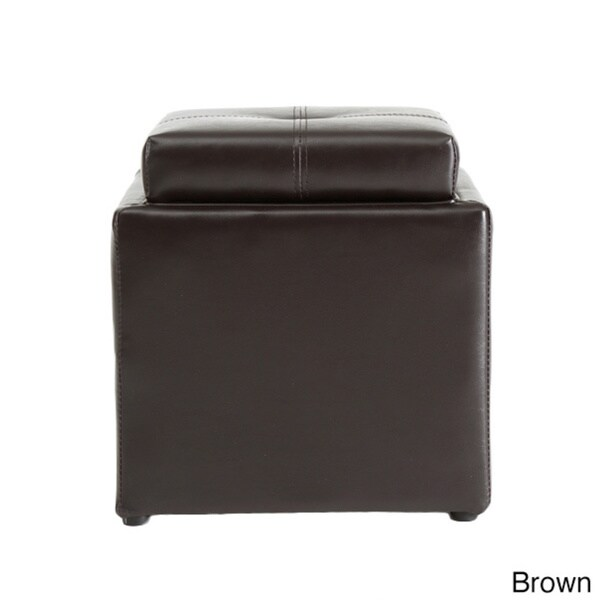 Hodedah Small Storage Ottoman With Flip Over Tray   Free Shipping Today    Overstock.com   17439079