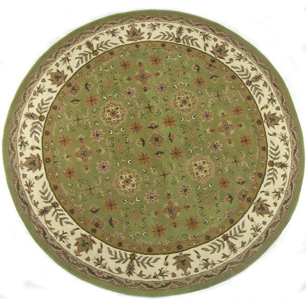 Shop Hand-tufted Wool Maha Green Round Hand Tufted Area