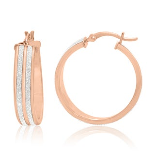 Gioelli Rose Goldplated Sterling Silver Liner Glitter Hoop Earrings