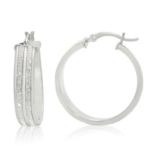 Gioelli Sterling Silver Liner Glitter Hoop Earrings
