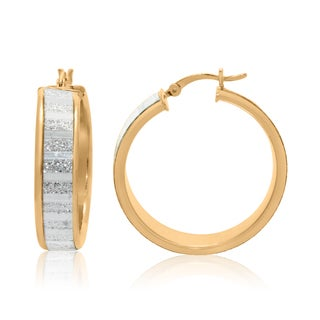 Gioelli Goldplated Sterling Silver Alternating Satin and Glitter Hoop Earrings