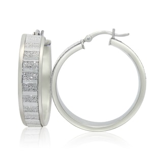 Gioelli Sterling Silver Alternating Satin and Glitter Hoop Earrings
