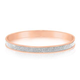 Gioelli Glamorous Rose Goldplated Sterling Silver Glitter Bangle
