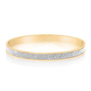 Gioelli Glamorous Goldplated Sterling Silver Glitter Bangle