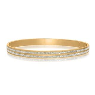 Gioelli Glamorous Goldplated Sterling Silver Liner Glitter Bangle