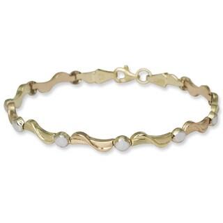 10k Tri-color Gold 7.25-inch Modern Stampato Bracelet