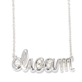 Sterling Silver Inspirational Word White Zircon Necklace