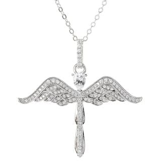 Sterling Silver 1 1/3 ct Genuine White Zircon 18-inch Angel Wing Necklace
