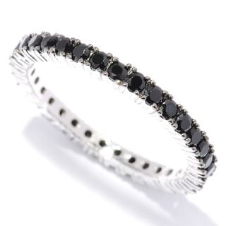 Sterling Silver 1ct Black Spinel Etenity Band Ring