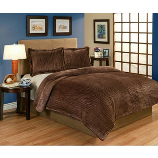 Lodge Brown Velvet Plush 3-piece Comforter Set