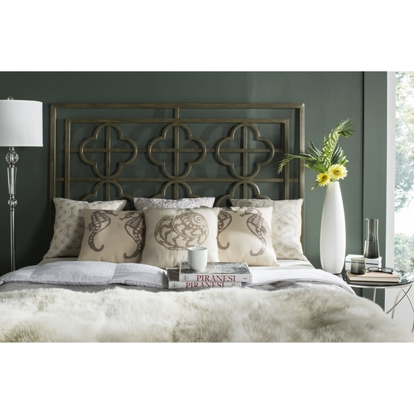 Safavieh Lucina French Bronze Metal Quatrefoil Headboard (Queen) - Safavieh Lucina French Bronze Metal Quatrefoil Headboard (Queen