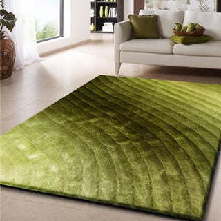 Rug Addiction 5' X 7' Green Shag Area Rug Hand Tufted