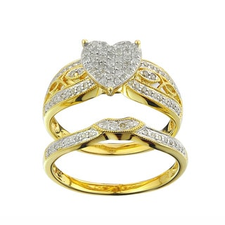 10k Yellow Gold 1/3ct TDW Diamond Heart Bridal Set (G-H , I2-I3)