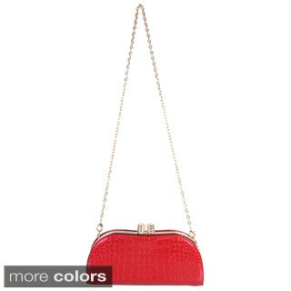 Rimen and Co. Patent Leather Glamour Studded Crocodile Turn Lock Crossbody