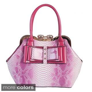 Rimen and Co. Patent Leather Snakeskin Studded Bow Satchel Handbag
