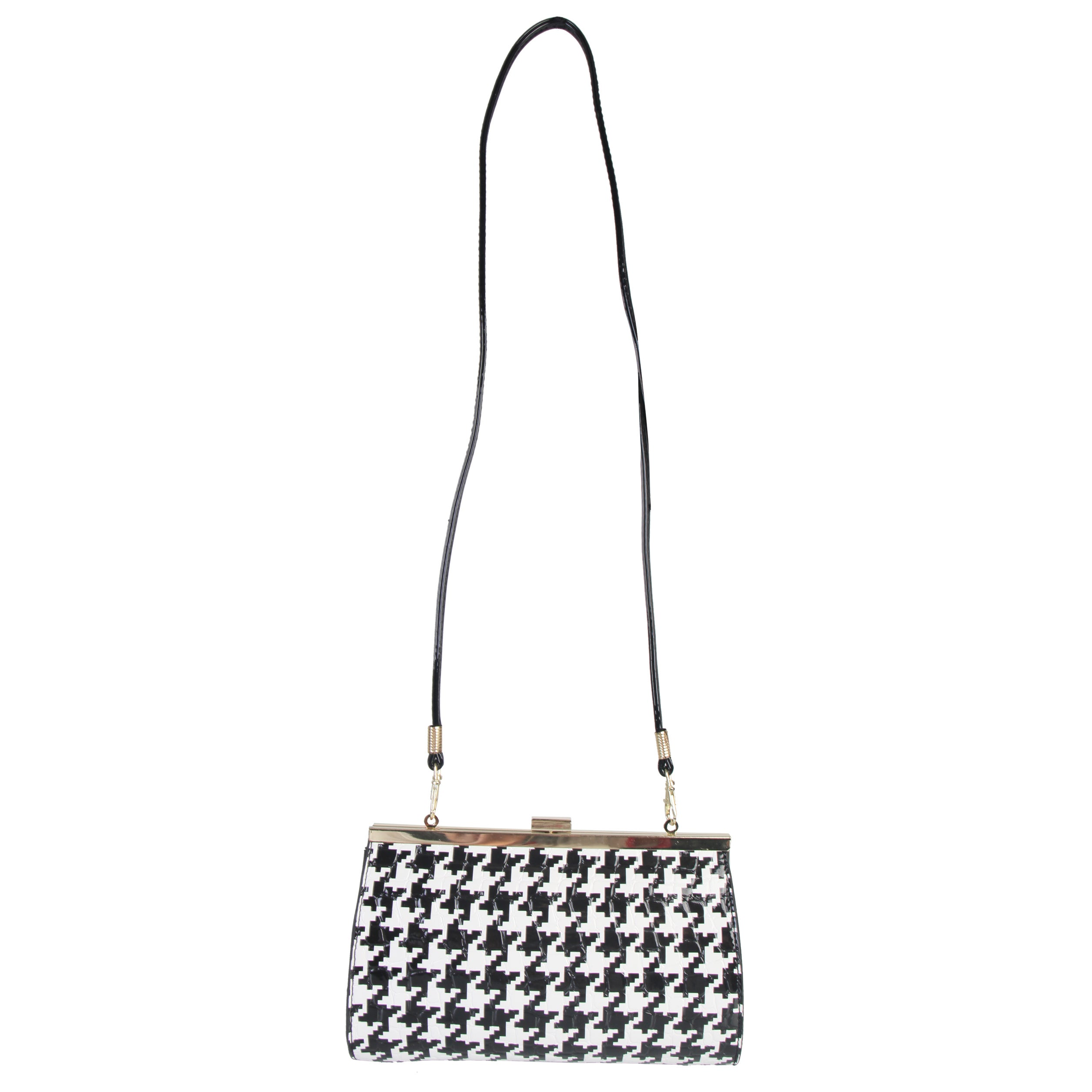 Womens Handbag and Purse Set Shoulder Bag Patent Faux Leather Black Houndstooth
