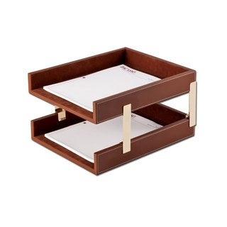 Rustic Brown Leather Double Letter Trays