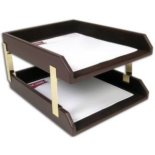 Chocolate Brown Leather Double Letter Trays