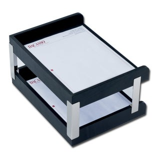 Classic Black Leather Double Side Load Letter Trays with Silver Posts