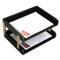 Classic Black Leather Double Side Load Letter Trays with Gold Posts