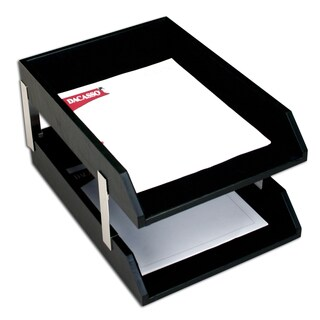 Classic Black Leather Double Letter Trays with Silver Posts