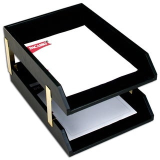 Classic Black Leather Double Legal Trays with Gold Posts