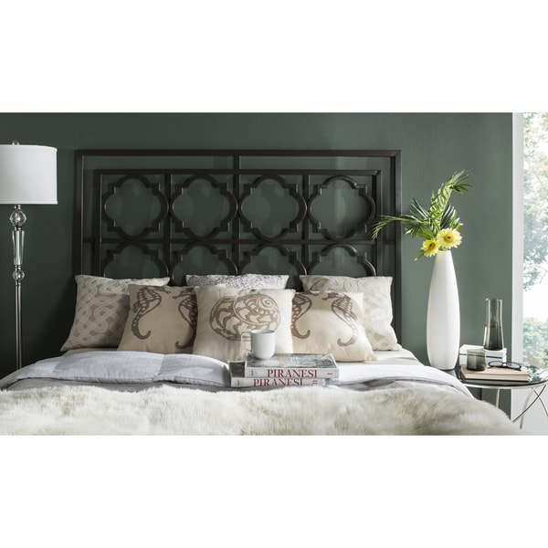 Shop Safavieh Silva Black Metal Geometric Headboard (Queen ...