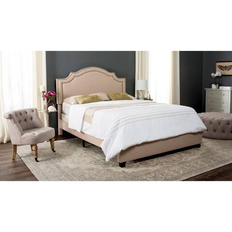 SAFAVIEH Theron Light Beige Linen Upholstered Bed (Full)