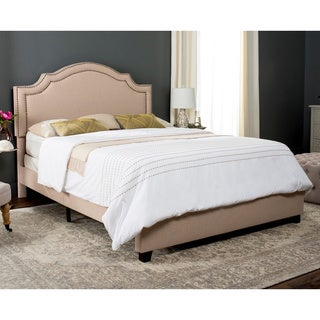 Safavieh Theron Light Beige Linen Upholstered Bed (Queen)