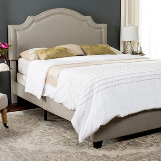 Safavieh Theron Light Grey Linen Upholstered Bed (Queen)