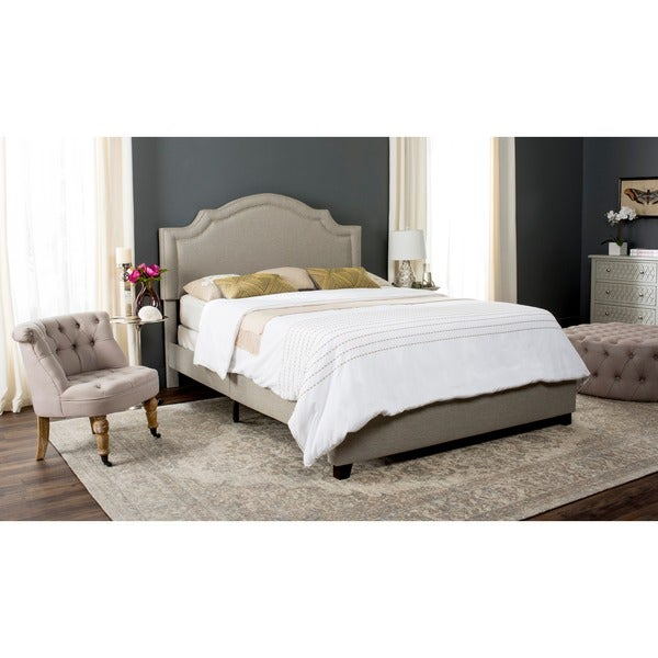 Safavieh Theron Light Grey Linen Upholstered Bed Queen
