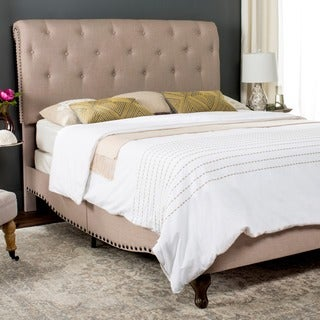 Safavieh Hathaway Taupe Linen Upholstered Tufted Rolled Back Bed (Queen)