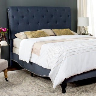 Safavieh Hathaway Navy Linen Upholstered Tufted Rolled Back Bed (Queen)