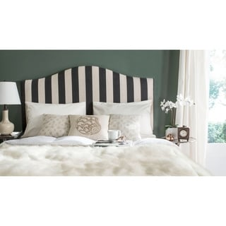Safavieh Connie Black and White Stripe Upholstered Camelback Headboard (Queen)
