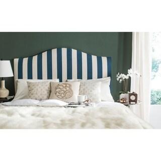 Safavieh Connie Navy and White Stripe Upholstered Camelback Headboard (Full)