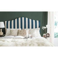 Safavieh Connie Navy and White Stripe Upholstered Camelback Headboard (Queen)
