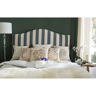 Safavieh Connie Grey and White Stripe Upholstered Camelback Headboard (Queen)