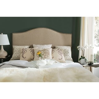 Link to Safavieh Connie Hemp Upholstered Camelback Headboard - Brass Nailhead (Queen) Similar Items in Bedroom Furniture