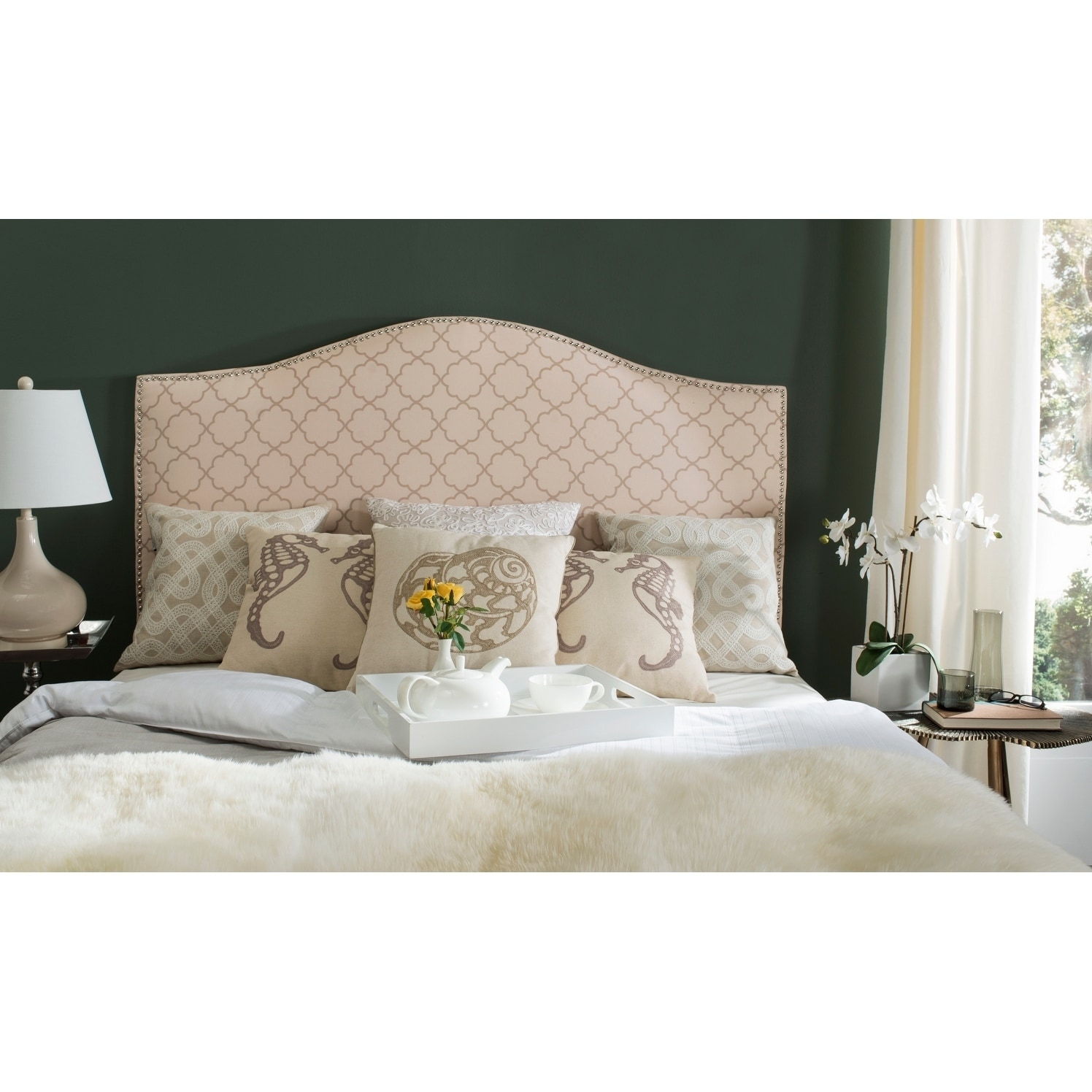 Shop Safavieh Connie Pink Beige Moroccan Pattern Camelback Headboard Silver Nailhead Queen On Sale Overstock 10329135