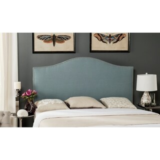 Safavieh Connie Sky Blue Upholstered Camelback Headboard - Silver Nailhead (Full)