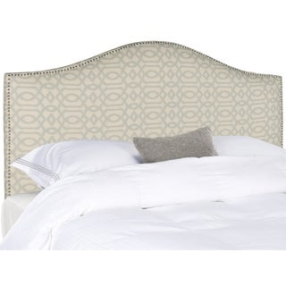 Safavieh Connie Wheat/Blue Patterned Camelback Headboard - Silver Nailhead (Full)