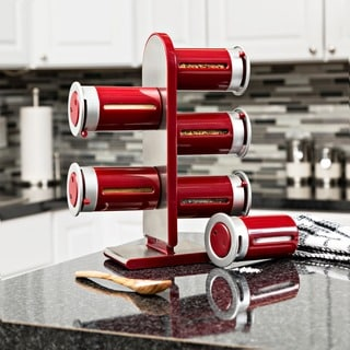 Zero Gravity Countertop Magnetic Spice Stand, Red/ silver