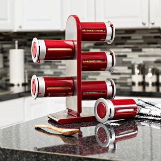 Honey-Can-Do Zero Gravity Countertop Magnetic Spice Stand, Red/ silver